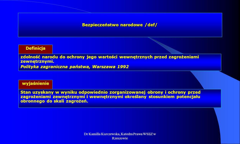 Dr Kamilla Kurczewska, Katedra Prawa WSIiZ w Rzeszowie Bezpieczeństwo państwa /def/ Definicja rzeczywisty stan stabilności wewnętrznej i suwerenności państwa, który odzwierciedla brak lub występowanie jakichkolwiek zagrożeń S.