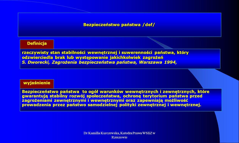 Dr Kamilla Kurczewska, Katedra Prawa WSIiZ w Rzeszowie Bezpieczeństwo publiczne /def/ Definicja Bezpieczeństwo publiczne, to stan przejawiający się ochroną porządku prawnego, życia i zdrowia obywateli oraz majątku narodowego przed bezprawnymi działaniami.
