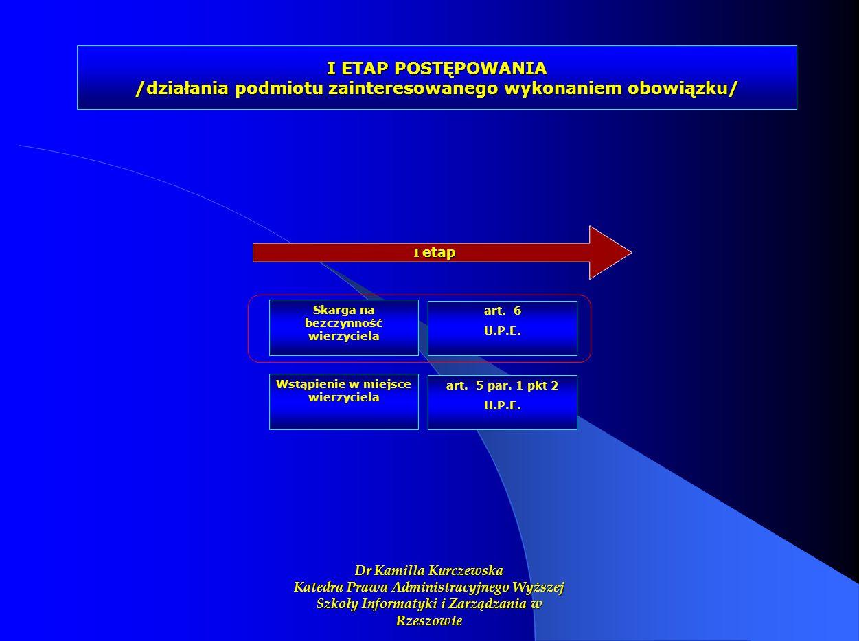 I ETAP POSTĘPOWANIA /działania podmiotu zainteresowanego wykonaniem obowiązku/ I etap Skarga na bezczynność wierzyciela art. 6 U.P.E. Wstąpienie w mie