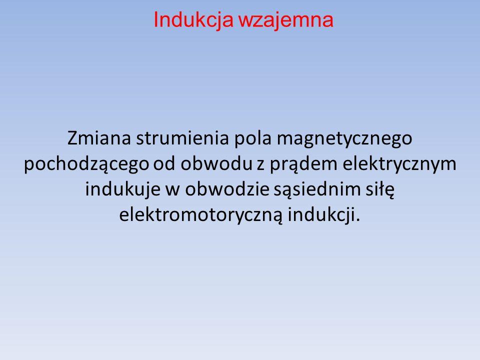 Zmiana strumienia pola magnetycznego pochodzącego od obwodu z prądem elektrycznym indukuje w obwodzie sąsiednim siłę elektromotoryczną indukcji. Induk