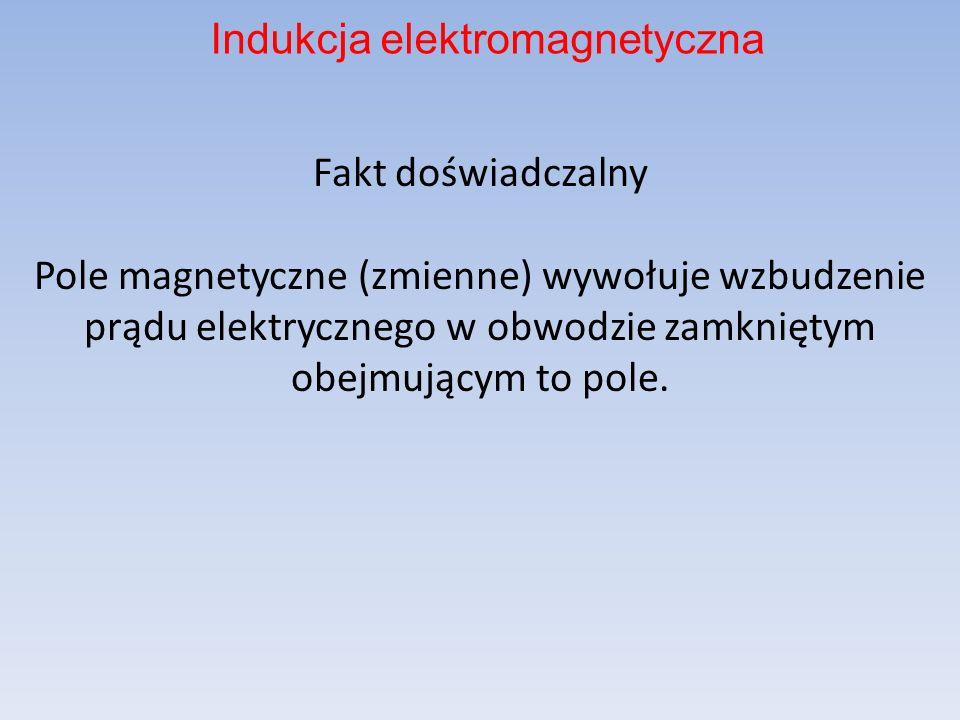 Fakt doświadczalny Pole magnetyczne (zmienne) wywołuje wzbudzenie prądu elektrycznego w obwodzie zamkniętym obejmującym to pole. Indukcja elektromagne