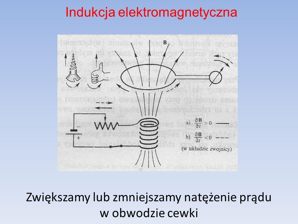 Zbliżamy lub oddalamy pętlę do (od) cewki, przez którą przepływa prąd stały Indukcja elektromagnetyczna
