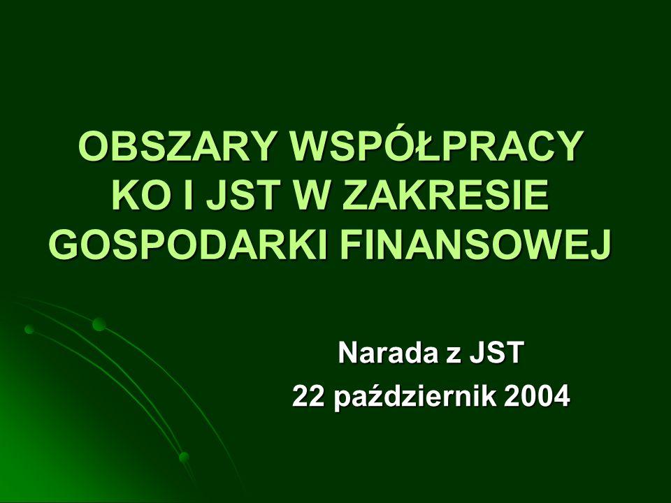 OBSZARY WSPÓŁPRACY KO I JST W ZAKRESIE GOSPODARKI FINANSOWEJ Narada z JST 22 październik 2004