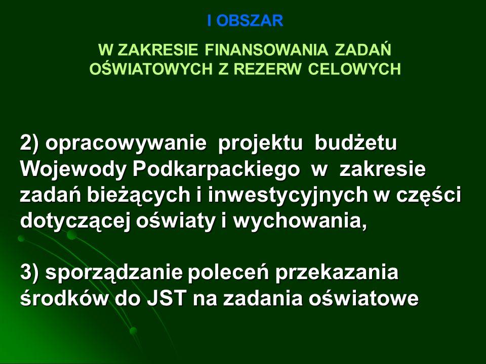 2) opracowywanie projektu budżetu Wojewody Podkarpackiego w zakresie zadań bieżących i inwestycyjnych w części dotyczącej oświaty i wychowania, 3) sporządzanie poleceń przekazania środków do JST na zadania oświatowe I OBSZAR W ZAKRESIE FINANSOWANIA ZADAŃ OŚWIATOWYCH Z REZERW CELOWYCH