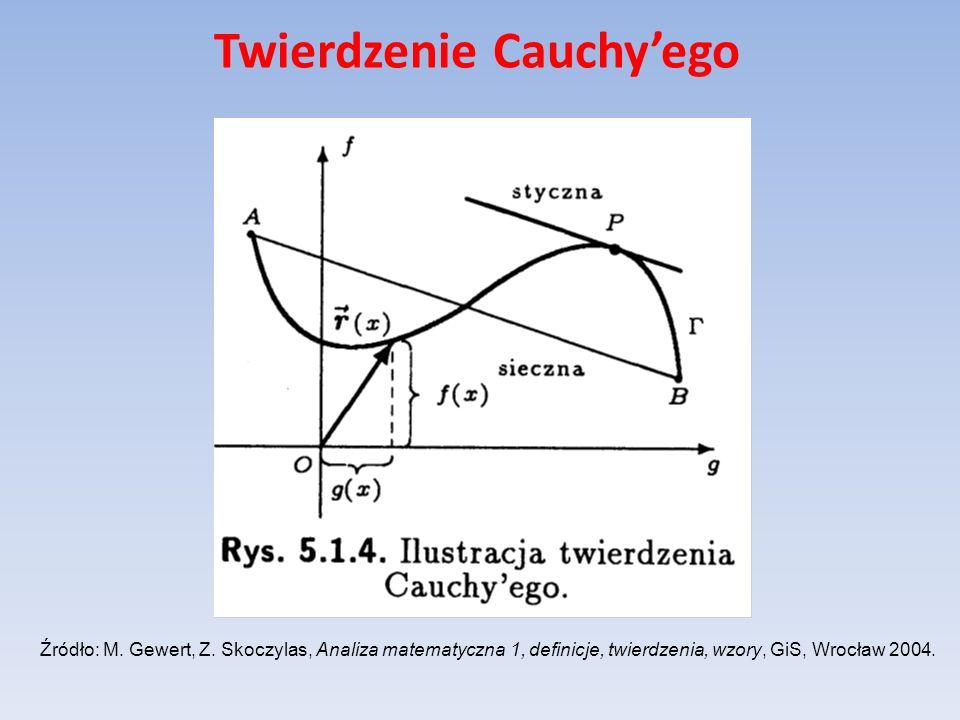 Twierdzenie Cauchyego Źródło: M. Gewert, Z. Skoczylas, Analiza matematyczna 1, definicje, twierdzenia, wzory, GiS, Wrocław 2004.