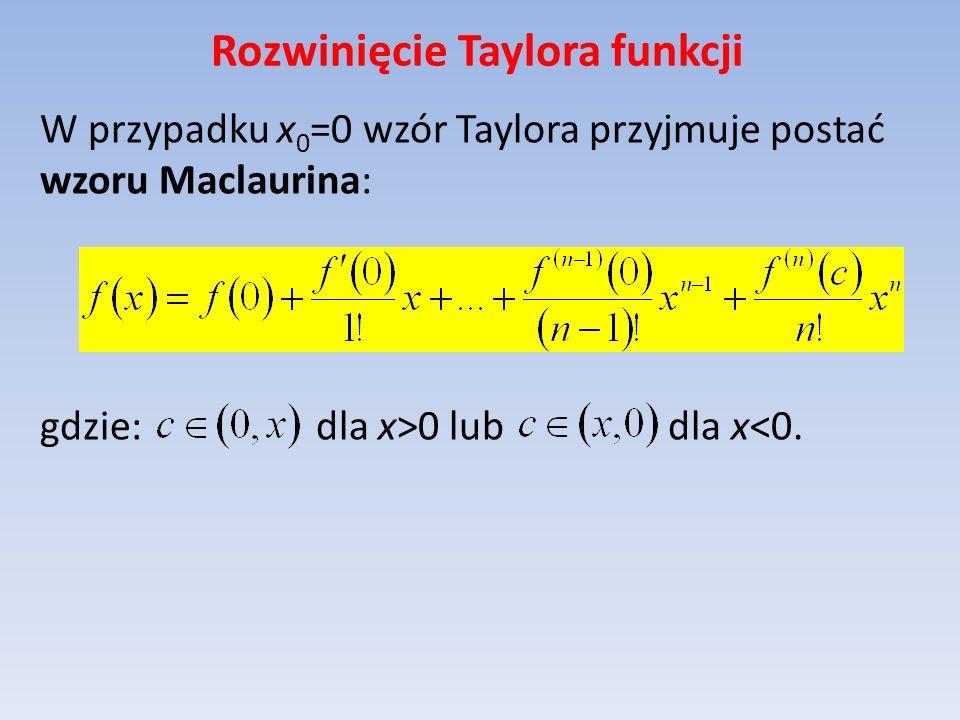 Rozwinięcie Taylora funkcji W przypadku x 0 =0 wzór Taylora przyjmuje postać wzoru Maclaurina: gdzie: dla x>0 lub dla x<0.