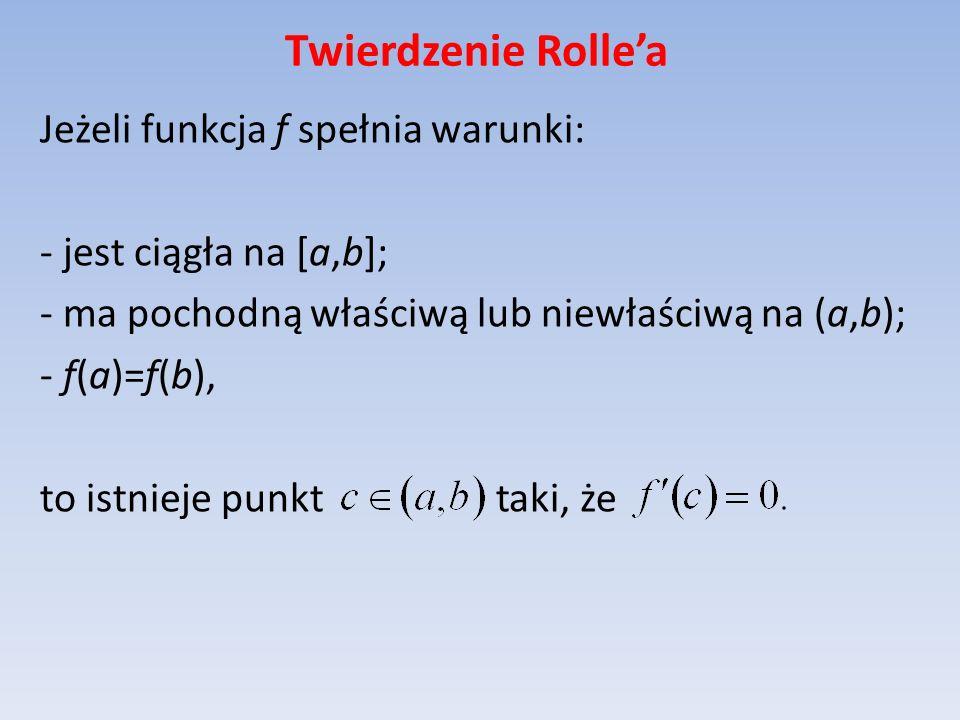 Twierdzenie Rollea Jeżeli funkcja f spełnia warunki: - jest ciągła na [a,b]; - ma pochodną właściwą lub niewłaściwą na (a,b); - f(a)=f(b), to istnieje
