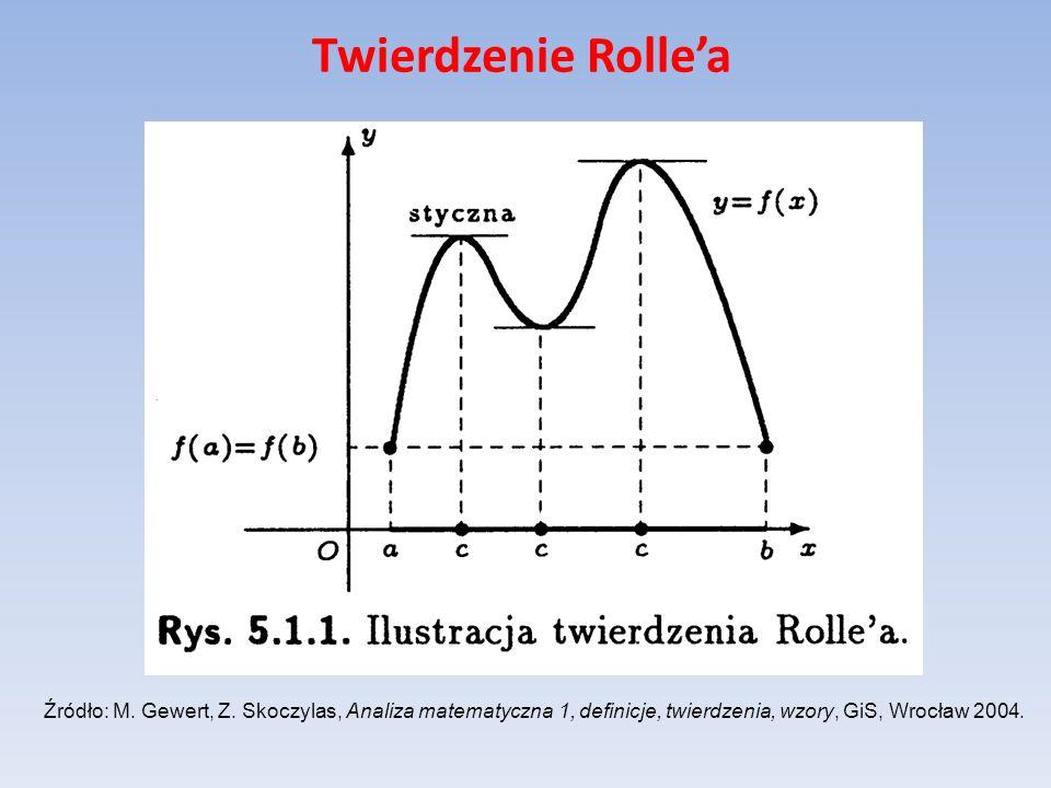 Twierdzenie Rollea Źródło: M. Gewert, Z. Skoczylas, Analiza matematyczna 1, definicje, twierdzenia, wzory, GiS, Wrocław 2004.