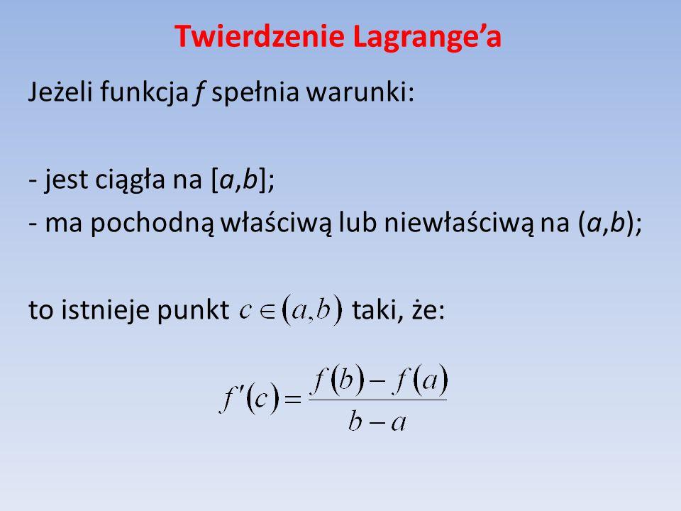 Twierdzenie Lagrangea Jeżeli funkcja f spełnia warunki: - jest ciągła na [a,b]; - ma pochodną właściwą lub niewłaściwą na (a,b); to istnieje punkt tak