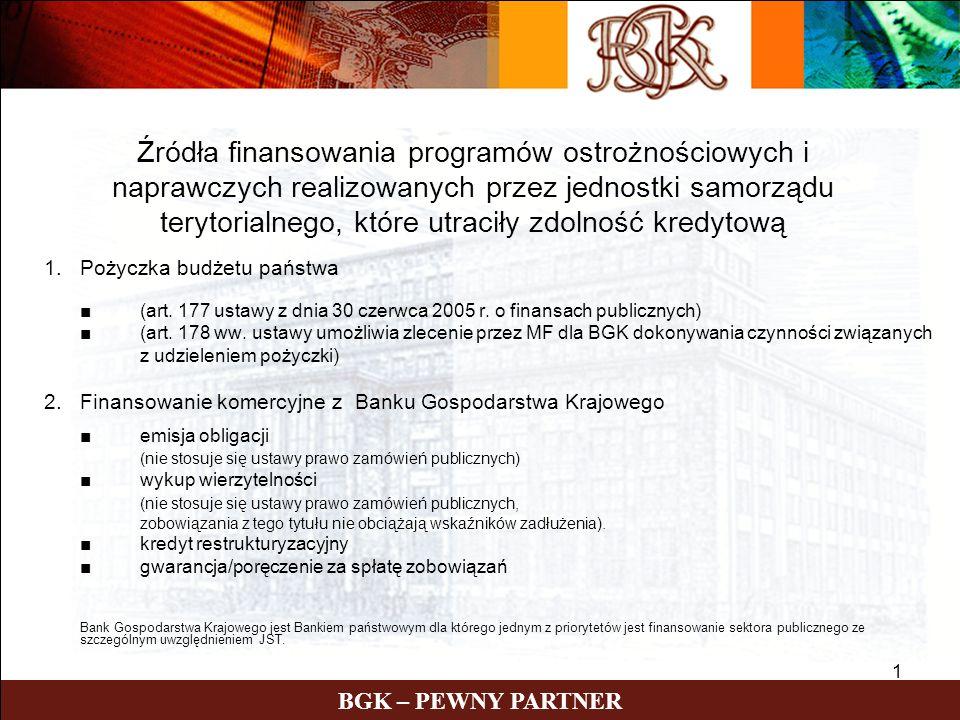 1 BGK – PEWNY PARTNER 1.Pożyczka budżetu państwa (art.