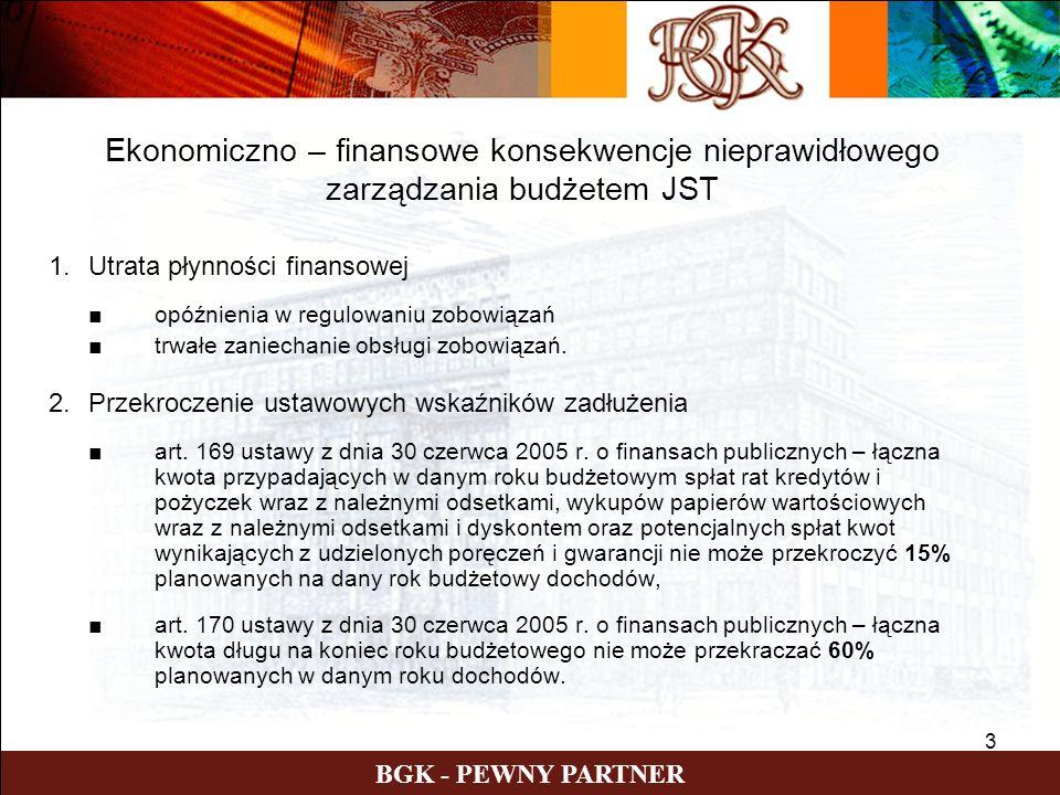 3 BGK - PEWNY PARTNER 1.Utrata płynności finansowej opóźnienia w regulowaniu zobowiązań trwałe zaniechanie obsługi zobowiązań.