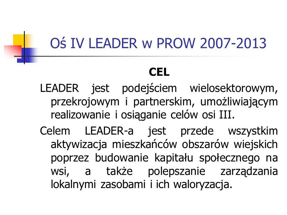 Oś IV LEADER w PROW 2007-2013 CEL LEADER jest podejściem wielosektorowym, przekrojowym i partnerskim, umożliwiającym realizowanie i osiąganie celów osi III.