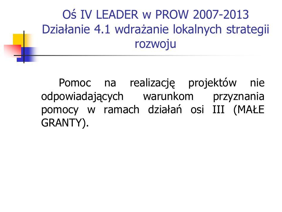 Oś IV LEADER w PROW 2007-2013 Działanie 4.1 wdrażanie lokalnych strategii rozwoju Pomoc na realizację projektów nie odpowiadających warunkom przyznania pomocy w ramach działań osi III (MAŁE GRANTY).