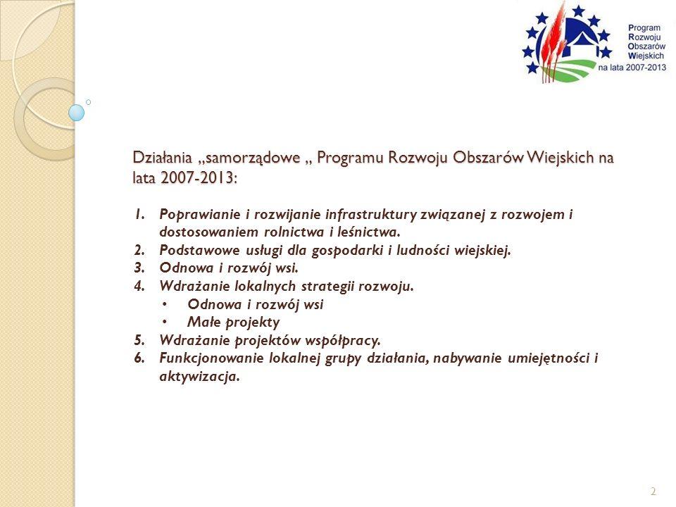 Działania samorządowe Programu Rozwoju Obszarów Wiejskich na lata 2007-2013: 1.Poprawianie i rozwijanie infrastruktury związanej z rozwojem i dostosowaniem rolnictwa i leśnictwa.