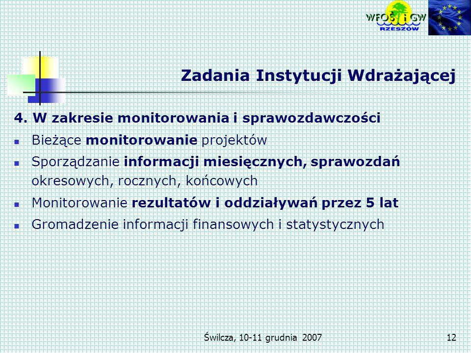 Świlcza, 10-11 grudnia 200712 Zadania Instytucji Wdrażającej 4.