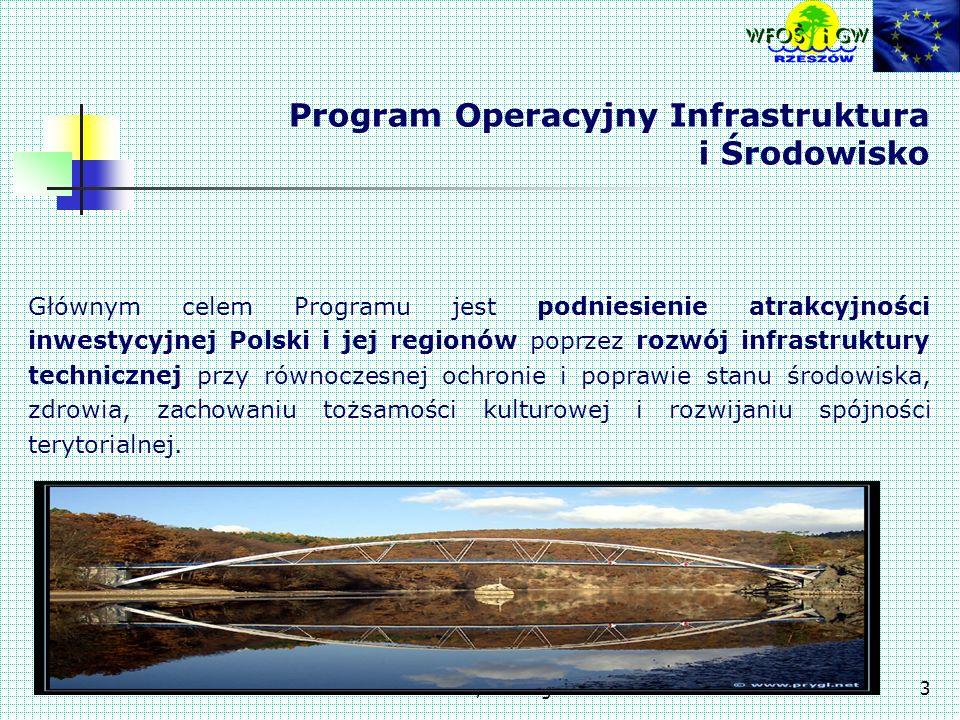 Świlcza, 10-11 grudnia 20073 Program Operacyjny Infrastruktura i Środowisko Głównym celem Programu jest podniesienie atrakcyjności inwestycyjnej Polski i jej regionów poprzez rozwój infrastruktury technicznej przy równoczesnej ochronie i poprawie stanu środowiska, zdrowia, zachowaniu tożsamości kulturowej i rozwijaniu spójności terytorialnej.