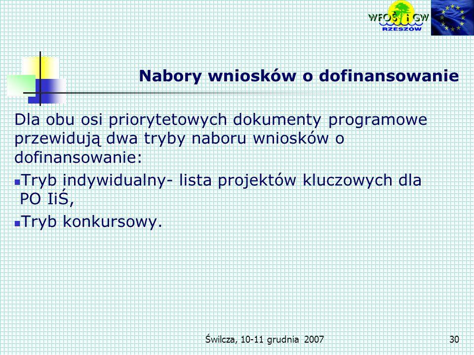 Świlcza, 10-11 grudnia 200730 Nabory wniosków o dofinansowanie Dla obu osi priorytetowych dokumenty programowe przewidują dwa tryby naboru wniosków o dofinansowanie: Tryb indywidualny- lista projektów kluczowych dla PO IiŚ, Tryb konkursowy.