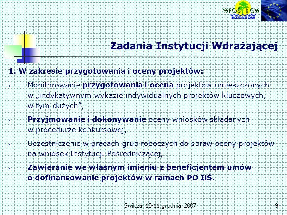 Świlcza, 10-11 grudnia 20079 Zadania Instytucji Wdrażającej 1.