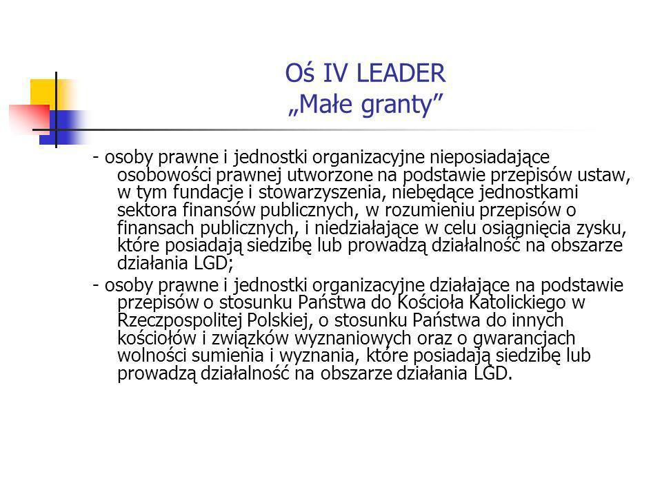 Oś IV LEADER Małe granty - osoby prawne i jednostki organizacyjne nieposiadające osobowości prawnej utworzone na podstawie przepisów ustaw, w tym fundacje i stowarzyszenia, niebędące jednostkami sektora finansów publicznych, w rozumieniu przepisów o finansach publicznych, i niedziałające w celu osiągnięcia zysku, które posiadają siedzibę lub prowadzą działalność na obszarze działania LGD; - osoby prawne i jednostki organizacyjne działające na podstawie przepisów o stosunku Państwa do Kościoła Katolickiego w Rzeczpospolitej Polskiej, o stosunku Państwa do innych kościołów i związków wyznaniowych oraz o gwarancjach wolności sumienia i wyznania, które posiadają siedzibę lub prowadzą działalność na obszarze działania LGD.