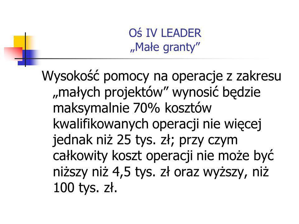 Oś IV LEADER Małe granty Wnioski o pomoc będą składane w siedzibie właściwej terytorialnie LGD.