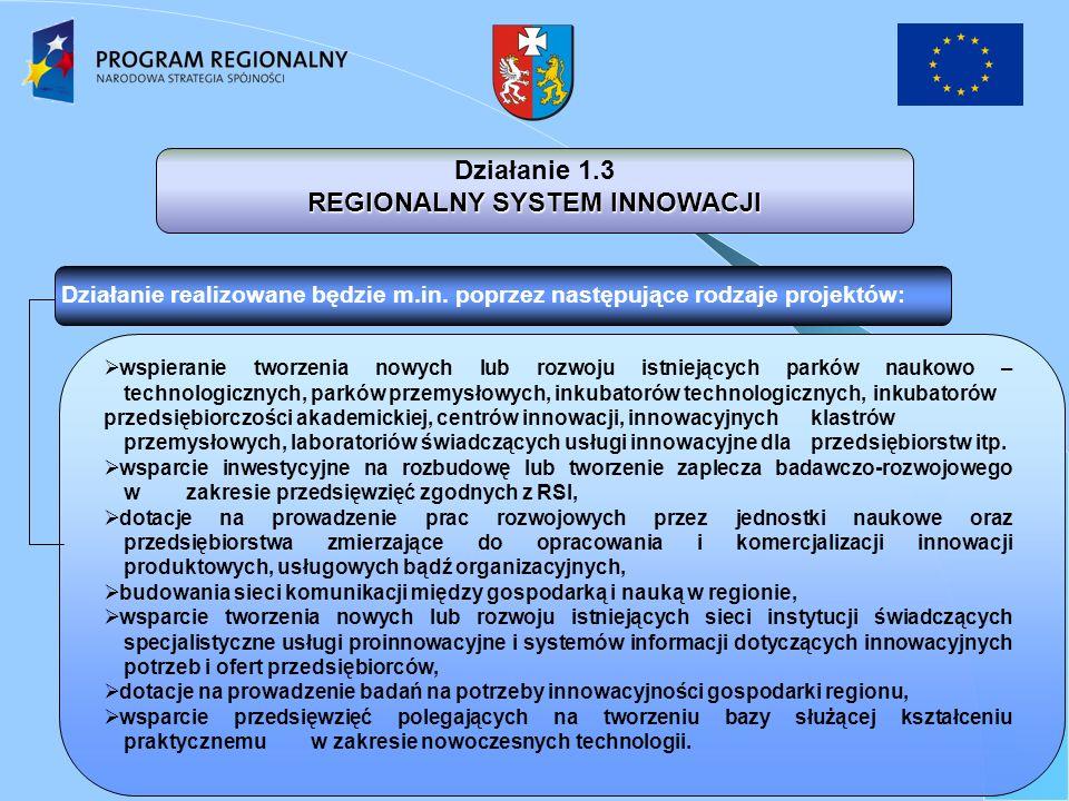 Działanie 1.3 REGIONALNY SYSTEM INNOWACJI wspieranie tworzenia nowych lub rozwoju istniejących parków naukowo – technologicznych, parków przemysłowych, inkubatorów technologicznych, inkubatorów przedsiębiorczości akademickiej, centrów innowacji, innowacyjnych klastrów przemysłowych, laboratoriów świadczących usługi innowacyjne dla przedsiębiorstw itp.