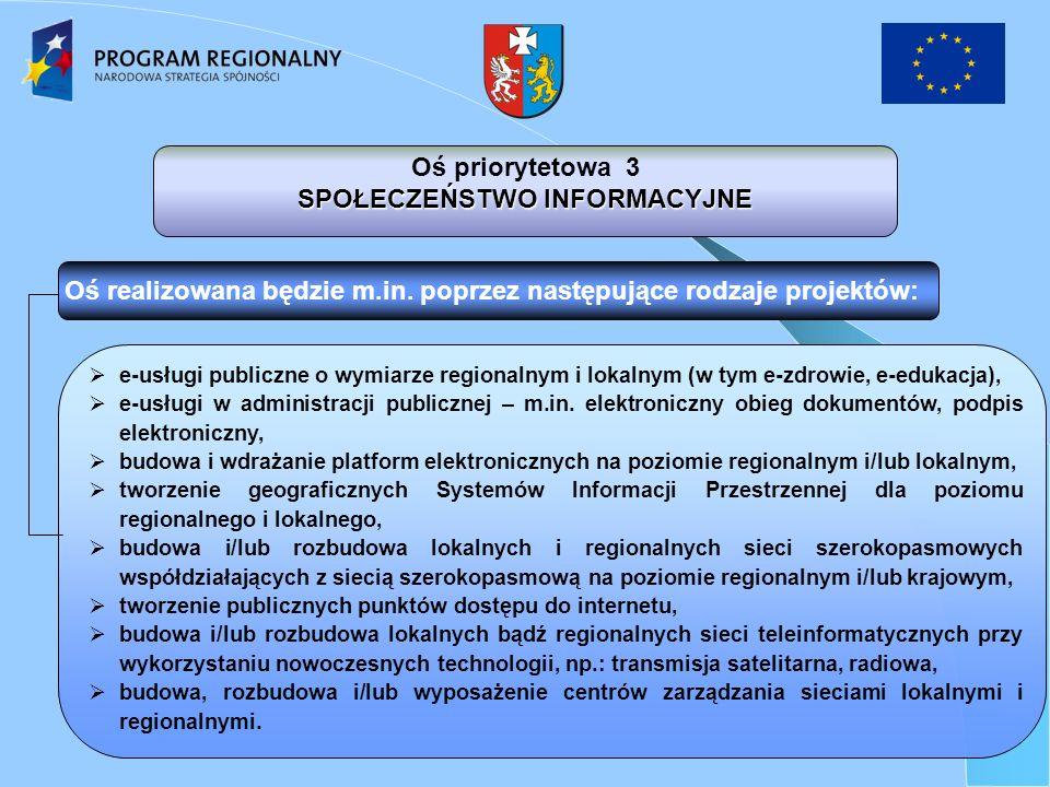 e-usługi publiczne o wymiarze regionalnym i lokalnym (w tym e-zdrowie, e-edukacja), e-usługi w administracji publicznej – m.in.