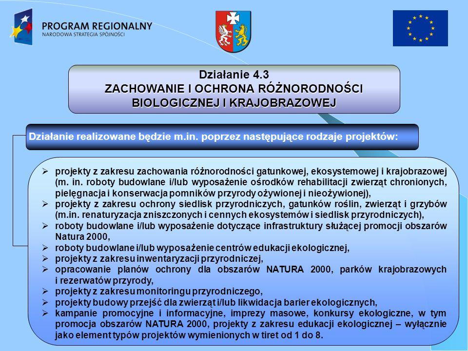 Działanie 4.3 ZACHOWANIE I OCHRONA RÓŻNORODNOŚCI BIOLOGICZNEJ I KRAJOBRAZOWEJ Działanie realizowane będzie m.in.