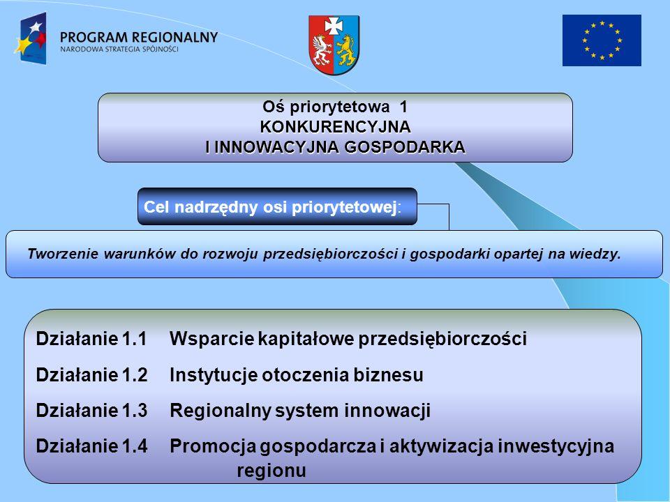 Działanie 1.1Wsparcie kapitałowe przedsiębiorczości Działanie 1.2Instytucje otoczenia biznesu Działanie 1.3Regionalny system innowacji Działanie 1.4Promocja gospodarcza i aktywizacja inwestycyjna regionu Tworzenie warunków do rozwoju przedsiębiorczości i gospodarki opartej na wiedzy.
