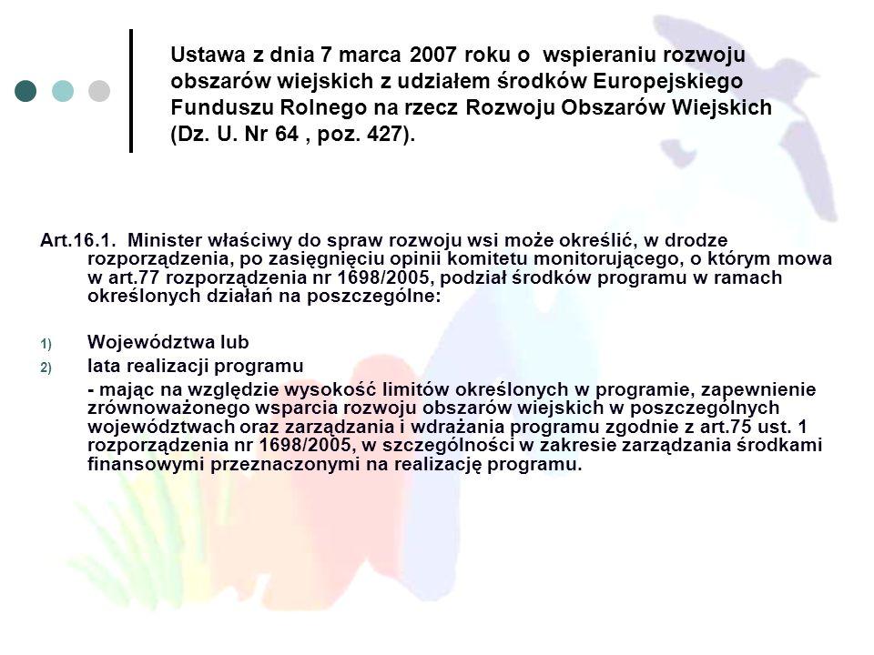 Ustawa z dnia 7 marca 2007 roku o wspieraniu rozwoju obszarów wiejskich z udziałem środków Europejskiego Funduszu Rolnego na rzecz Rozwoju Obszarów Wi
