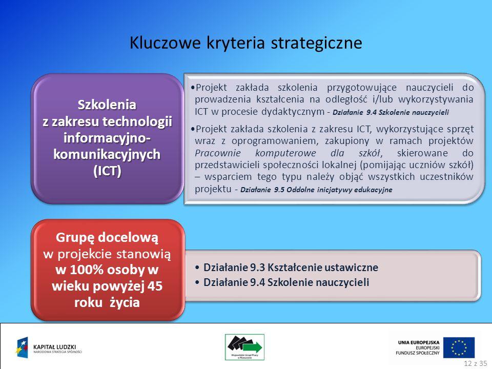 Kluczowe kryteria strategiczne 12 Projekt zakłada szkolenia przygotowujące nauczycieli do prowadzenia kształcenia na odległość i/lub wykorzystywania ICT w procesie dydaktycznym - Działanie 9.4 Szkolenie nauczycieli Projekt zakłada szkolenia z zakresu ICT, wykorzystujące sprzęt wraz z oprogramowaniem, zakupiony w ramach projektów Pracownie komputerowe dla szkół, skierowane do przedstawicieli społeczności lokalnej (pomijając uczniów szkół) – wsparciem tego typu należy objąć wszystkich uczestników projektu - Działanie 9.5 Oddolne inicjatywy edukacyjne Szkolenia z zakresu technologii informacyjno- komunikacyjnych (ICT) Działanie 9.3 Kształcenie ustawiczne Działanie 9.4 Szkolenie nauczycieli Grupę docelową w projekcie stanowią w 100% osoby w wieku powyżej 45 roku życia 12 z 35