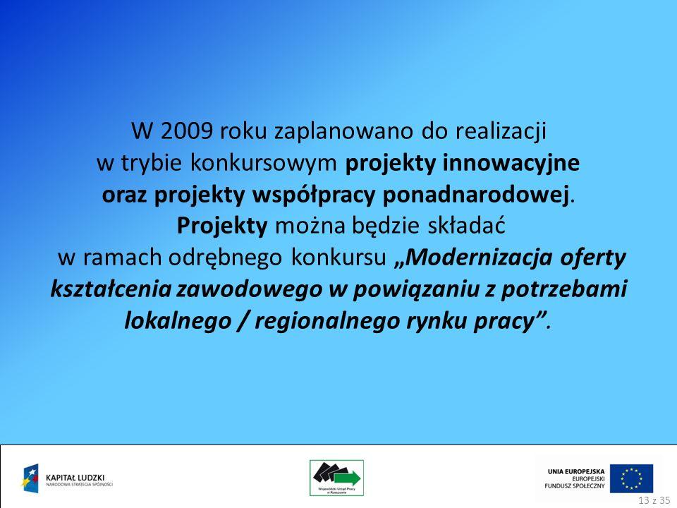 W 2009 roku zaplanowano do realizacji w trybie konkursowym projekty innowacyjne oraz projekty współpracy ponadnarodowej.