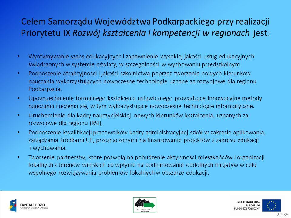 Celem Samorządu Województwa Podkarpackiego przy realizacji Priorytetu IX Rozwój kształcenia i kompetencji w regionach jest: Wyrównywanie szans edukacyjnych i zapewnienie wysokiej jakości usług edukacyjnych świadczonych w systemie oświaty, w szczególności w wychowaniu przedszkolnym.