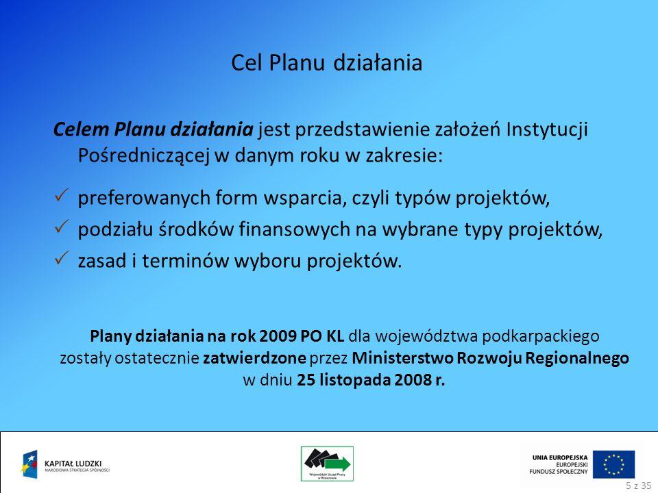 Cel Planu działania Celem Planu działania jest przedstawienie założeń Instytucji Pośredniczącej w danym roku w zakresie: preferowanych form wsparcia, czyli typów projektów, podziału środków finansowych na wybrane typy projektów, zasad i terminów wyboru projektów.