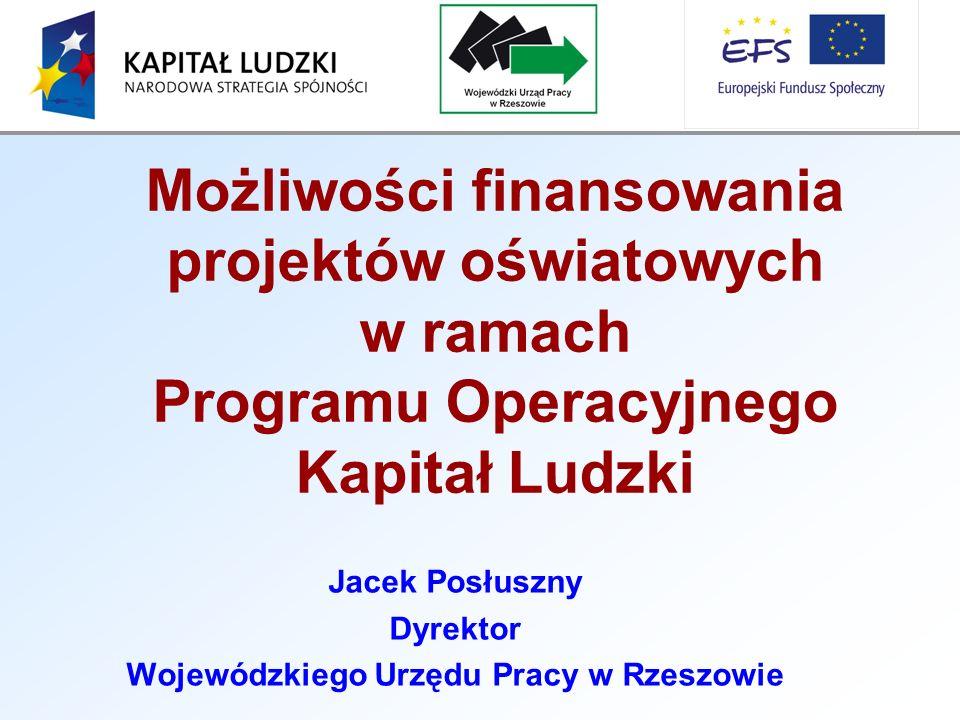 Jacek Posłuszny Dyrektor Wojewódzkiego Urzędu Pracy w Rzeszowie Możliwości finansowania projektów oświatowych w ramach Programu Operacyjnego Kapitał Ludzki