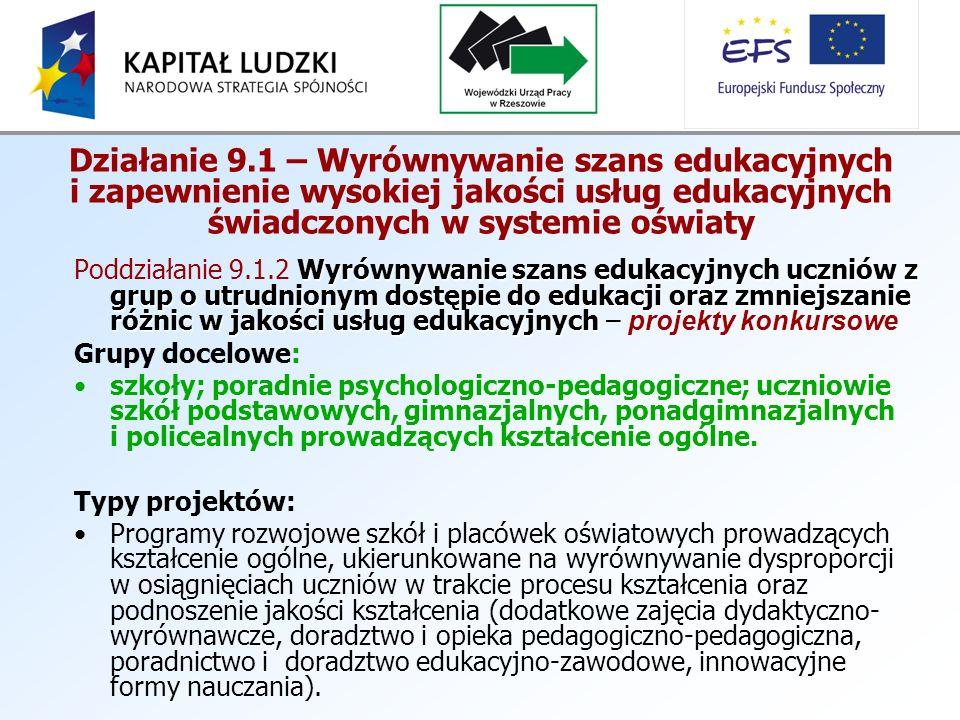 Działanie 9.1 – Wyrównywanie szans edukacyjnych i zapewnienie wysokiej jakości usług edukacyjnych świadczonych w systemie oświaty Wyrównywanie szans edukacyjnych uczniów z grup o utrudnionym dostępie do edukacji oraz zmniejszanie różnic w jakości usług edukacyjnych Poddziałanie 9.1.2 Wyrównywanie szans edukacyjnych uczniów z grup o utrudnionym dostępie do edukacji oraz zmniejszanie różnic w jakości usług edukacyjnych – projekty konkursowe Grupy docelowe: szkoły; poradnie psychologiczno-pedagogiczne; uczniowie szkół podstawowych, gimnazjalnych, ponadgimnazjalnych i policealnych prowadzących kształcenie ogólne.