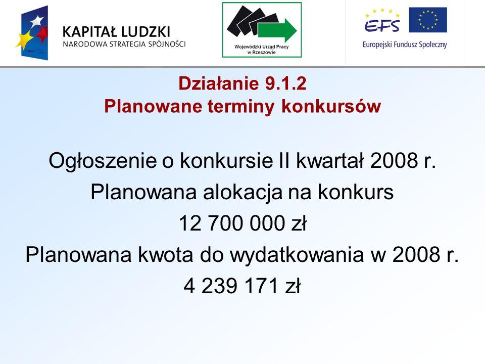 Działanie 9.1.2 Planowane terminy konkursów Ogłoszenie o konkursie II kwartał 2008 r.