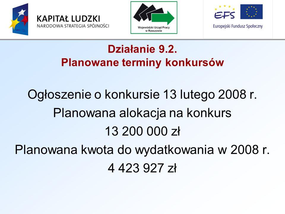 Działanie 9.2. Planowane terminy konkursów Ogłoszenie o konkursie 13 lutego 2008 r.