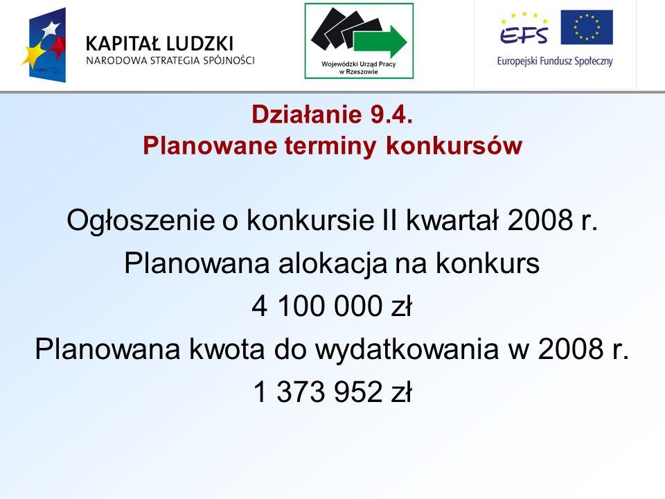 Działanie 9.4. Planowane terminy konkursów Ogłoszenie o konkursie II kwartał 2008 r.