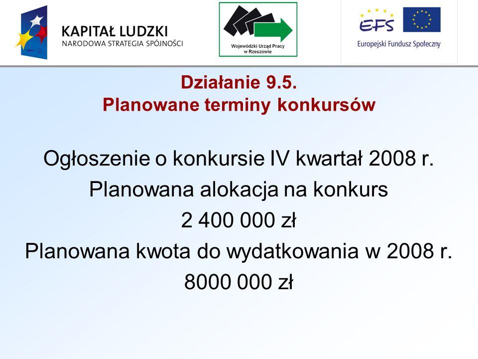 Działanie 9.5. Planowane terminy konkursów Ogłoszenie o konkursie IV kwartał 2008 r.