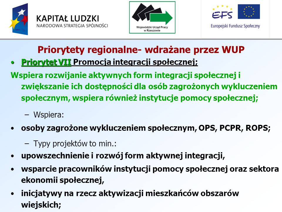 Priorytety regionalne- wdrażane przez WUP Priorytet VII Promocja integracji społecznej;Priorytet VII Promocja integracji społecznej; Wspiera rozwijanie aktywnych form integracji społecznej i zwiększanie ich dostępności dla osób zagrożonych wykluczeniem społecznym, wspiera również instytucje pomocy społecznej; –Wspiera: osoby zagrożone wykluczeniem społecznym, OPS, PCPR, ROPS; –Typy projektów to min.: upowszechnienie i rozwój form aktywnej integracji, wsparcie pracowników instytucji pomocy społecznej oraz sektora ekonomii społecznej, inicjatywy na rzecz aktywizacji mieszkańców obszarów wiejskich;