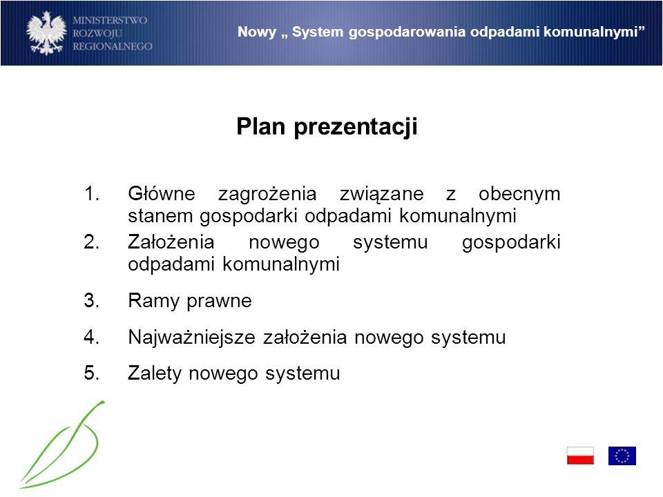 Nowy System gospodarowania odpadami komunalnymi –Niewykorzystanie 1 015 740 049 z Funduszu Spójności przewidzianych na realizację działania 2.1 Programu Operacyjnego Infrastruktura Środowisko oraz 289 388 715 z Europejskiego Funduszu Rozwoju Regionalnego przewidzianych na realizację regionalnych programów operacyjnych, –Niewywiązanie się przez Polskę zobowiązań nałożonych Traktatem akcesyjnym związanych z osiągnięciem limitów odzysku odpadów opakowaniowych oraz ograniczenia ilości odpadów przeznaczonych do składowania 1.