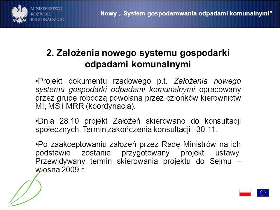 Nowy System gospodarowania odpadami komunalnymi System gospodarowania odpadami komunalnymi zostanie uregulowany w nowym akcie prawnym - ustawie o gospodarowaniu odpadami komunalnymi (kwestia do ustalenia).