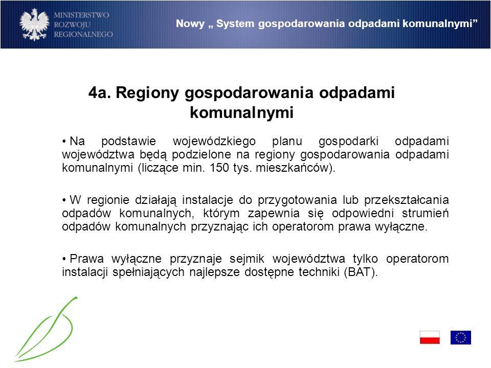 Nowy System gospodarowania odpadami komunalnymi Na podstawie wojewódzkiego planu gospodarki odpadami województwa będą podzielone na regiony gospodarowania odpadami komunalnymi (liczące min.