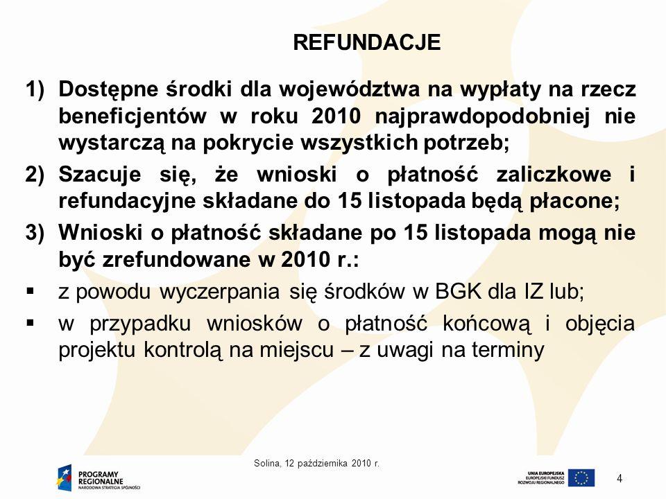 Solina, 12 października 2010 r. 4 REFUNDACJE 1)Dostępne środki dla województwa na wypłaty na rzecz beneficjentów w roku 2010 najprawdopodobniej nie wy