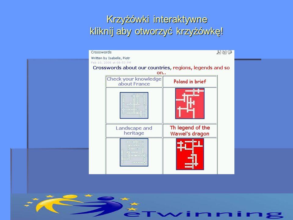 Krzyżówki interaktywne kliknij aby otworzyć krzyżówkę!
