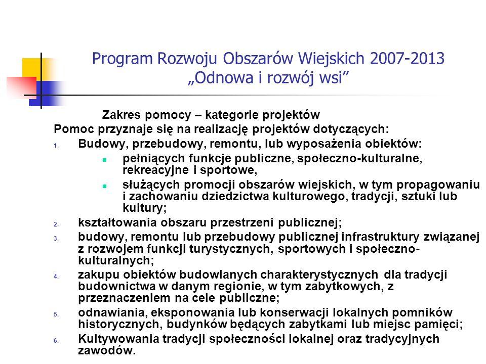 Program Rozwoju Obszarów Wiejskich 2007-2013 Odnowa i rozwój wsi Zakres pomocy – kategorie projektów Pomoc przyznaje się na realizację projektów dotyczących: 1.