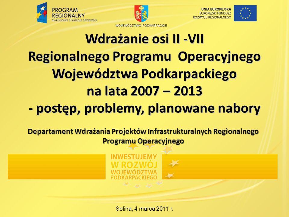 Wdrażanie osi II -VII Regionalnego Programu Operacyjnego Województwa Podkarpackiego na lata 2007 – 2013 - postęp, problemy, planowane nabory Solina, 4 marca 2011 r.