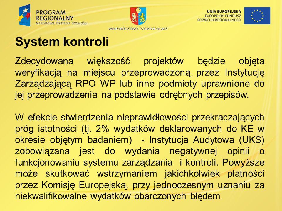 System kontroli Zdecydowana większość projektów będzie objęta weryfikacją na miejscu przeprowadzoną przez Instytucję Zarządzającą RPO WP lub inne podmioty uprawnione do jej przeprowadzenia na podstawie odrębnych przepisów.