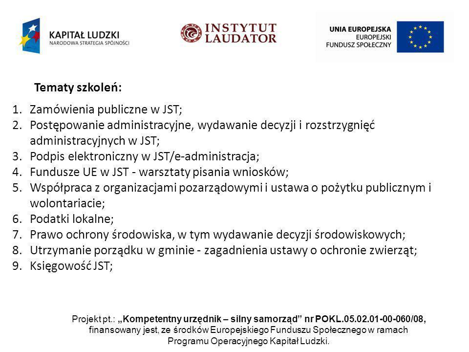 Projekt pt.: Kompetentny urzędnik – silny samorząd nr POKL.05.02.01-00-060/08, finansowany jest, ze środków Europejskiego Funduszu Społecznego w ramach Programu Operacyjnego Kapitał Ludzki.