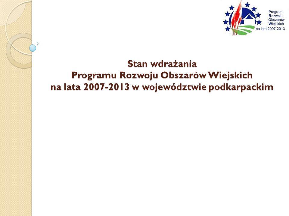Stan wdrażania Programu Rozwoju Obszarów Wiejskich na lata 2007-2013 w województwie podkarpackim